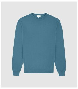 Reiss Maurice - Cotton Crew Neck Jumper in Petrol, Mens, Size XXL