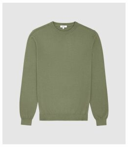 Reiss Maurice - Cotton Crew Neck Jumper in New Sage, Mens, Size XXL