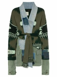 Alanui extended sleeve multitextured belted cardigan - Green