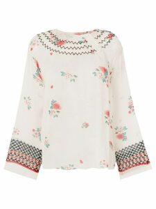 Philosophy Di Lorenzo Serafini zigzag embroidered neck raglan blouse -