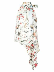 Oscar de la Renta asymmetric floral print blouse - White