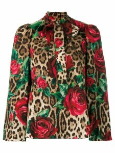 Dolce & Gabbana leopard and rose print blouse - Brown