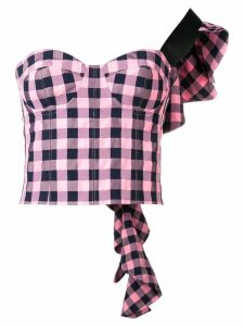 Natasha Zinko one-shoulder checked top - PINK
