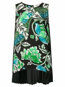 Diane von Furstenberg tiger lily print pleated back blouse - Black