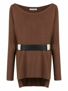 Gloria Coelho belted knit blouse - Brown