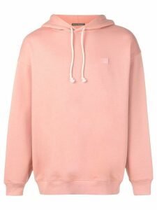 Acne Studios face motif patch hoodie - PINK