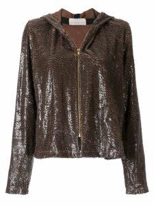 Juan Hernandez Daels Estribo metallic hoodie - Brown