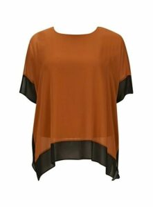 Rust Contrast Hem Top, Rust