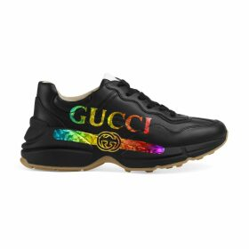 Women's Rhyton leather sneaker with Gucci logo