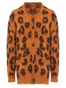 Miu Miu leopard-jacquard cardigan - Brown