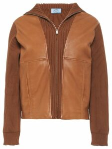 Prada leather insert cardigan - Brown