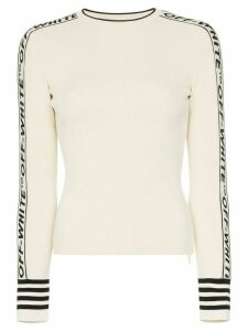 Off-White logo round neck knitted jumper