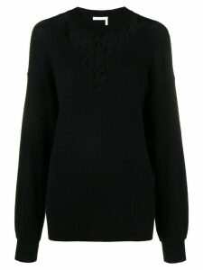 See By Chloé floral lace-panelled sweater - Black