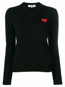 Comme Des Garçons Play v-neck logo patch jumper - Black