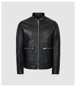 Reiss Martel - Leather Bomber Jacket in Black, Mens, Size XXL