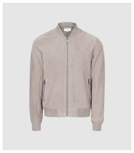 Reiss Haltwhistle - Suede Bomber Jacket in Stone, Mens, Size XXL