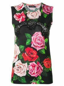 Dolce & Gabbana floral print knitted top - Black
