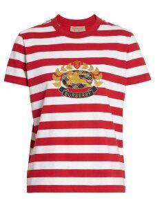 Burberry Crest Appliqué Striped Cotton T-shirt - Red