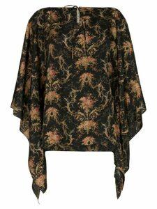 By Walid Camilla floral print kaftan blouse - Black