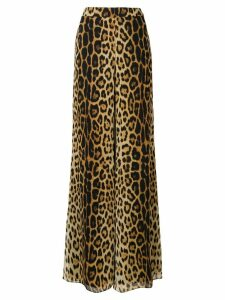 Moschino flared leopard print trousers - NEUTRALS