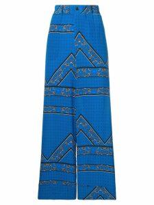GANNI floral pattern wide leg trousers - Blue