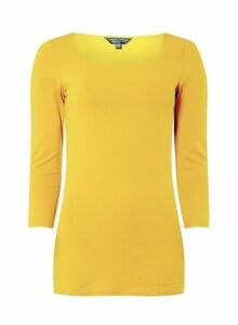 Womens **Tall Mustard Square Neck Top - Yellow, Yellow