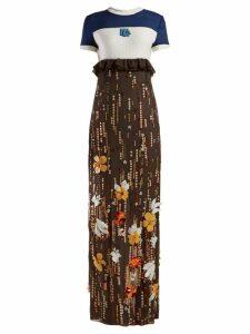 Prada - Sequinned Silk-chiffon Gown - Womens - Brown Multi