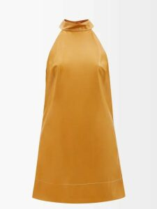 Miu Miu - Bow-back Logo-embroidered Wool Cardigan - Womens - Light Brown