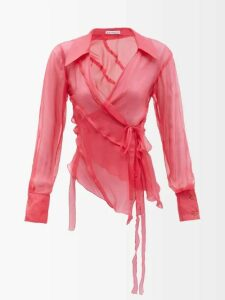 Prada - Sailboat Intarsia Wool Blend Sweater - Womens - Orange Multi