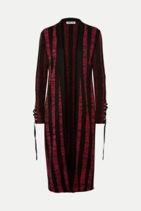 McQ Alexander McQueen - Lace-up Striped Cotton Cardigan - Red
