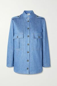 ALEXACHUNG - Striped Brushed Cotton-blend Cardigan - Navy