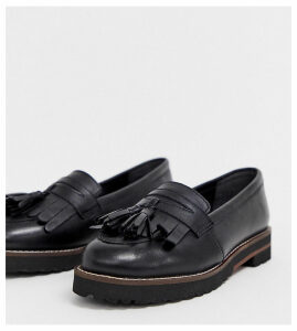 ASOS DESIGN Wide Fit Maxfield leather fringed loafers