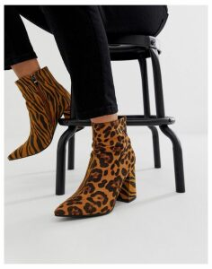 Public Desire Chaos mixed animal heeled ankle boots-Multi