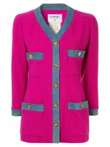 Chanel Pre-Owned 1980s CHANEL Long Sleeve Coat Jacket - PINK