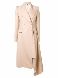 Alexander McQueen drape-detailed coat - Neutrals