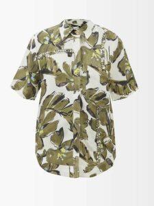 Masscob - One-shoulder Linen-blend Top - Womens - Dark Brown