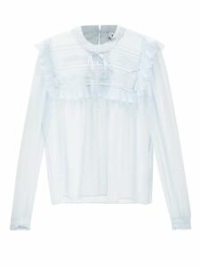 Masscob - Reina Leopard Brocade Silk Blend Blouse - Womens - Gold