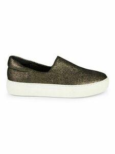 Lux Glitter Leather Platform Slip-On Sneakers