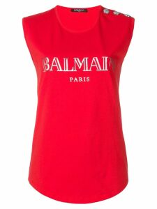 Balmain logo-print tank top - Red