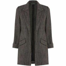 Anastasia  -Black Herringbone Unlined Jacket  women's Coat in Black