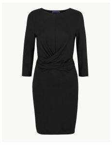 M&S Collection PETITE Twisted 3/4 Sleeve Bodycon Mini Dress