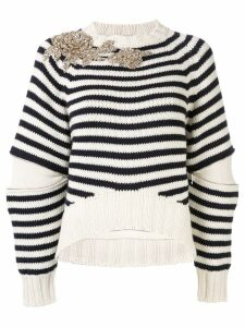 Alexander McQueen embellished striped knit sweater - White