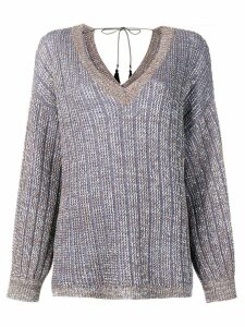 Etro ribbed metallic jumper - Brown