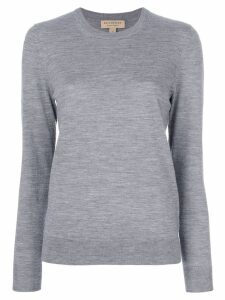 Burberry Check Detail Merino Wool Crew Neck Sweater - Grey