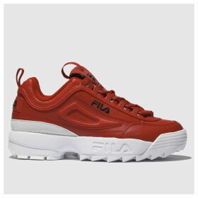 Fila Red Disruptor Ii Leather Trainers