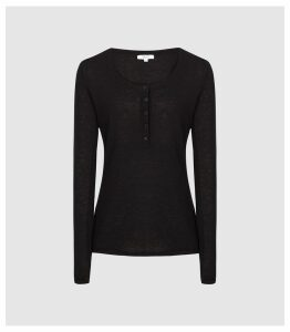 Reiss Bella - Grandad Jumper in Black, Womens, Size XXL