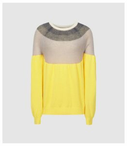 Reiss Tulum - Colour Blocked Jumper in Yellow, Womens, Size XXL