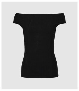 Reiss Zena - Knitted Bardot Top in Black, Womens, Size XXL