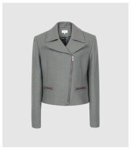 Reiss Slade - Wool Blend Biker Jacket in Slate, Womens, Size 14