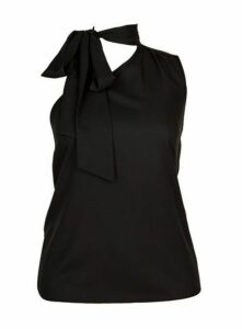 **City Chic Black Tie Top, Black